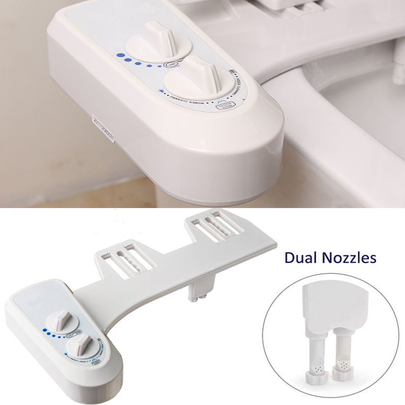 Bathroom with Non-Electric Toilet Attachment Bidet Seat Sprayer