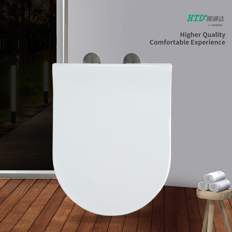 Fast Install U Shape SS Hinge With Two Button White UF Seat Cover