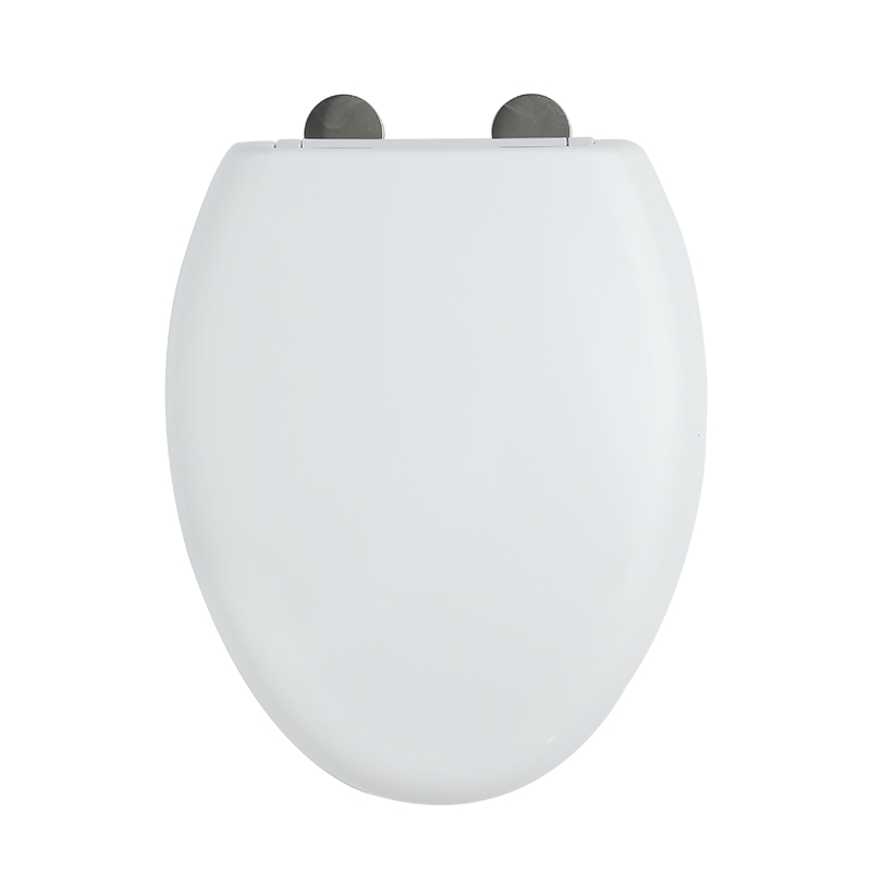 Fast Install SS Hinge With One Button White PP Elongated Seat Cover
