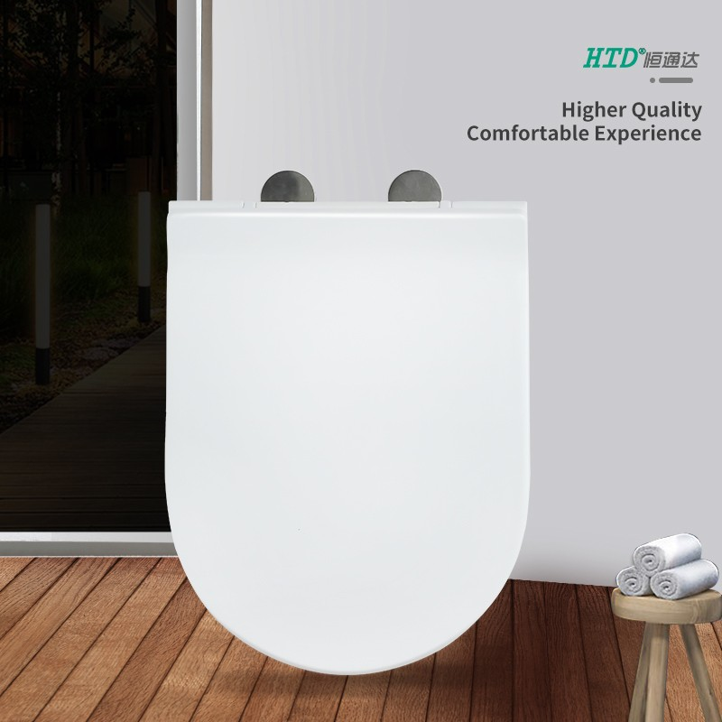 Fast Install U Shape SS Hinge With One Button White PP Seat Cover