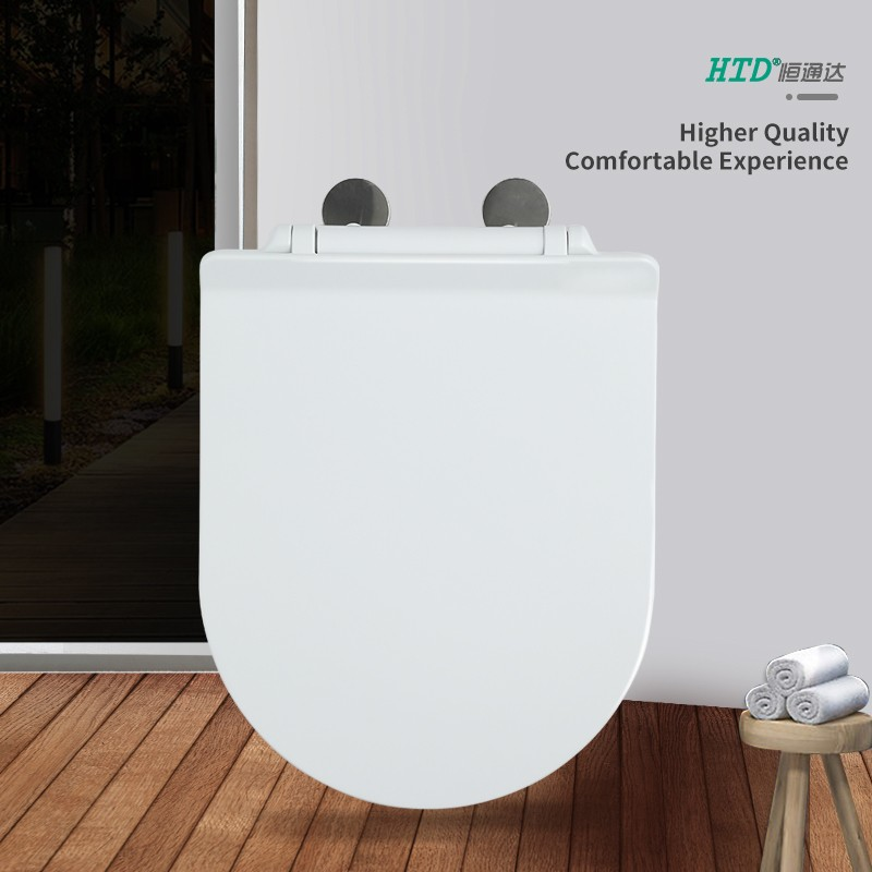 Fast Install U Shape SS Hinge With One Button White UF Seat Cover