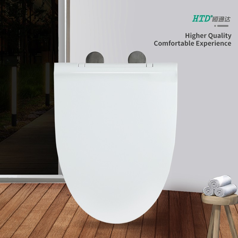 SS Hinge With One Button White Elongated UF Seat Cover